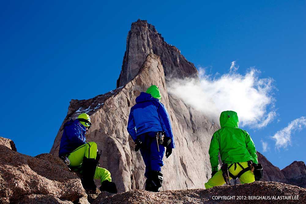 The team look on at the huge ridge of Ulvetanna, Antarctica, 88 kb