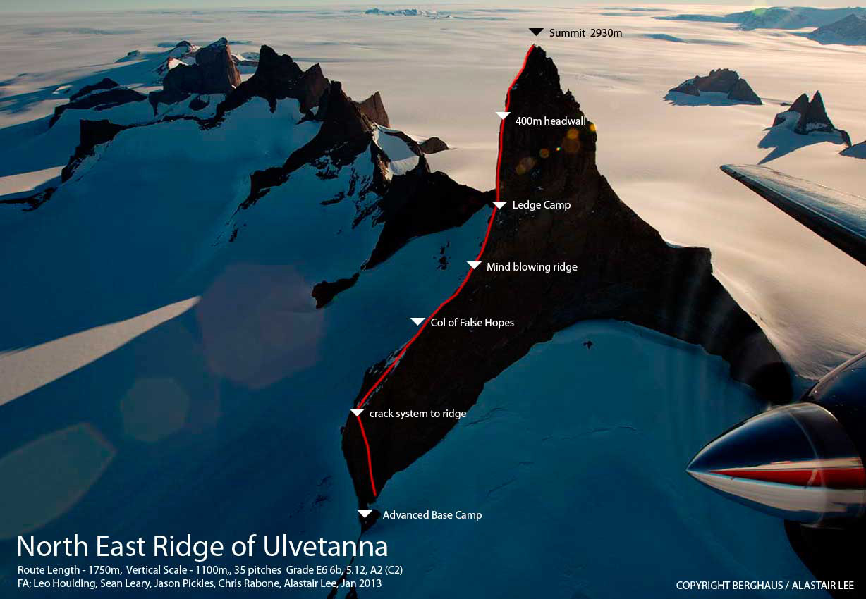 The route on Ulvetanna, 174 kb