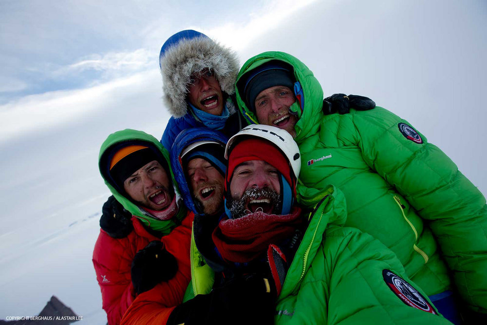 The team on the summit. Back - Leo (left) and Sean; front - Jason (left), Chris and Alastair, 134 kb