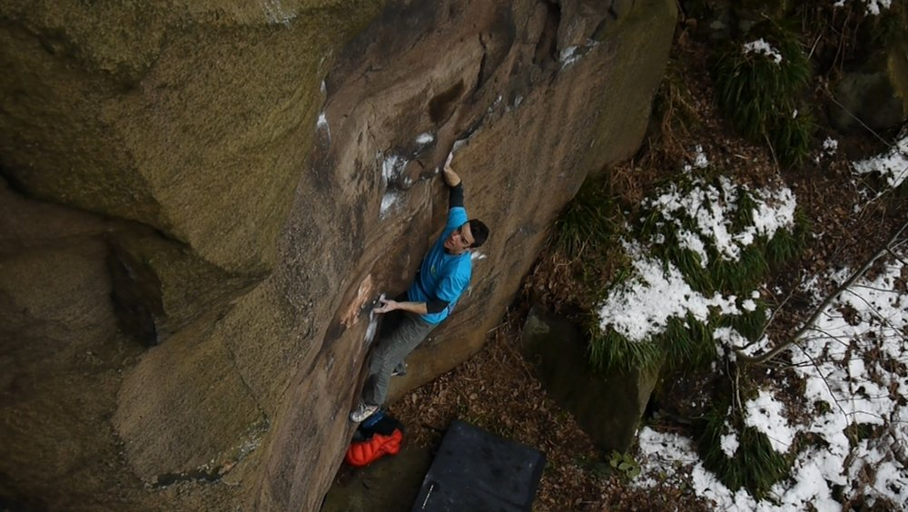 Tom Randall making the first ascent of My Kai (E8 6c) at Shining Cliff, 119 kb