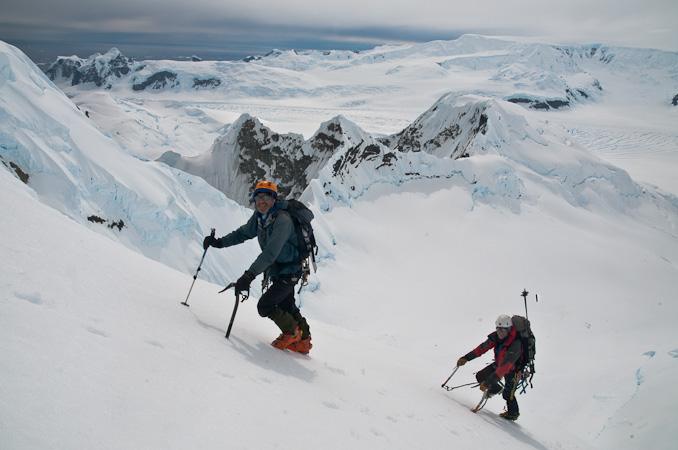 Derek Buckle and Bjorn Riis-Johannessen on first ascent of Alencar Peak via the the NE spur, 108 kb