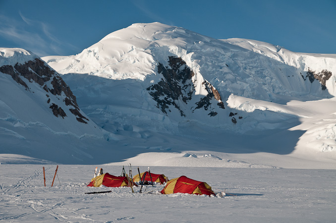 Base Camp on the Belgica Glacier, below Valiente Peak, 133 kb