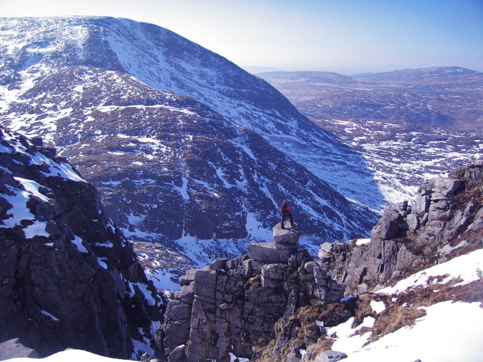 Looking towards Slieve Snaght, the �mountain of snow� from pillars of boulders near Drumnaliffern Mountain, Co.Donegal, 205 kb