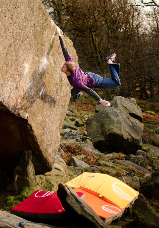 Ned Feehally puts his faith in Wild Country's new pads on The Ace 8b, Stanage. , 152 kb