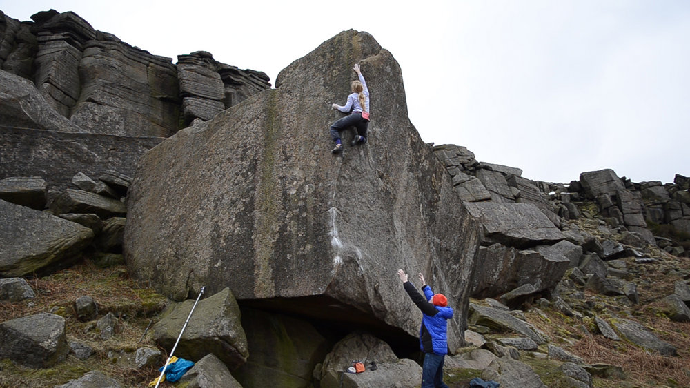 Mina Leslie-Wujastyk making the first female ascent of Careless Torque (8A) at Stanage, 161 kb