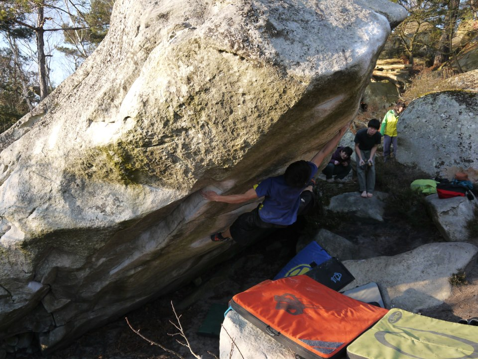 Toru Nakajima on The Big Island, ~8C, Fontainebleau, 202 kb