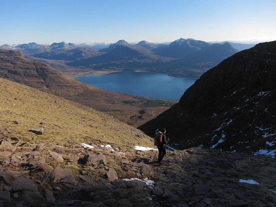 Descending Coire nan Laogh, with Loch Torridon and the Coulin hills beyond, 151 kb
