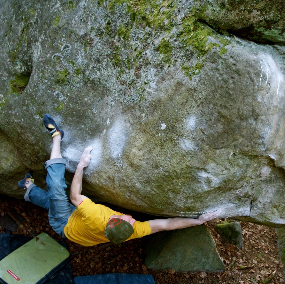Chris Schulte on Tajine, 8A+, Fontainebleau, France, 244 kb