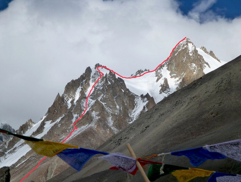 Dunglung Kangri showing route of first ascent, 111 kb