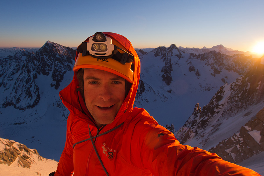 Jon Griffith on the top of the Aiguille Verte, 217 kb