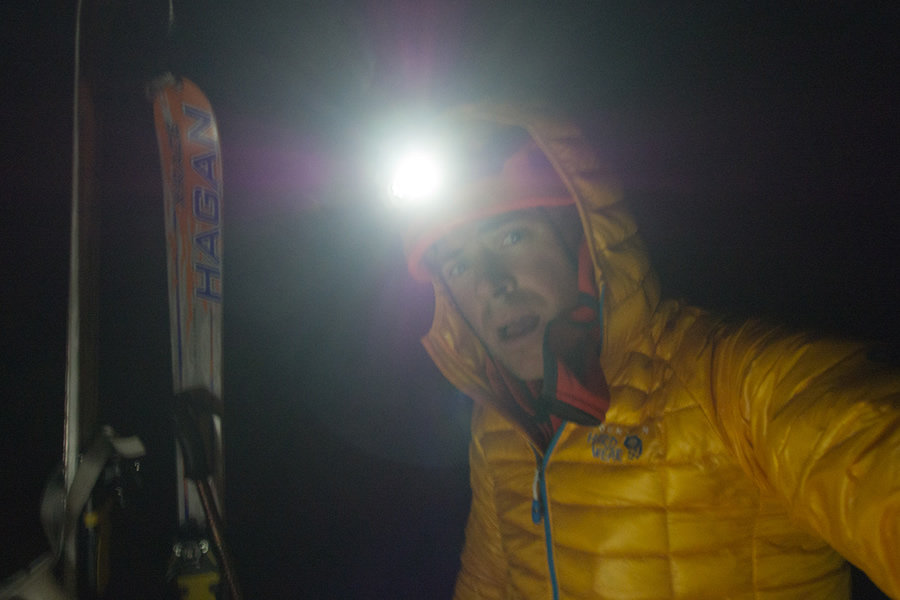 The darkness can't hide 'that' look in his eye - summit of Les Courtes after a monster day, 151 kb