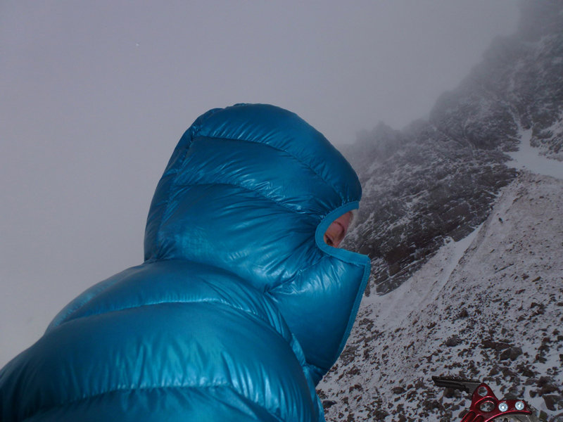 Sarah Stirling testing the Rab Infinity Down Jacket in the Cairngorms, 98 kb