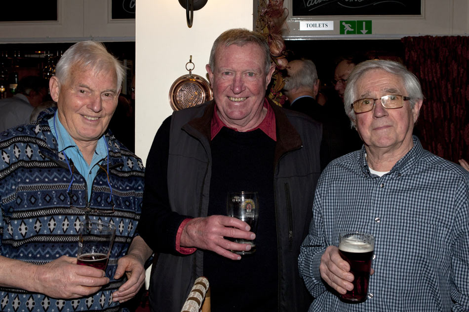 Nev Crowther, Mike James and Syd Clark at the Hathersage SUMC Reunion in March 2013, 128 kb