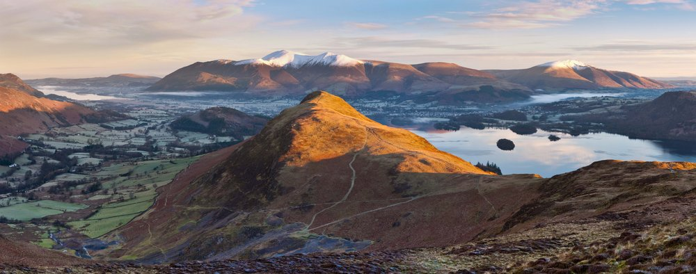 Dawn lights up Catbells and Skiddaw, 96 kb