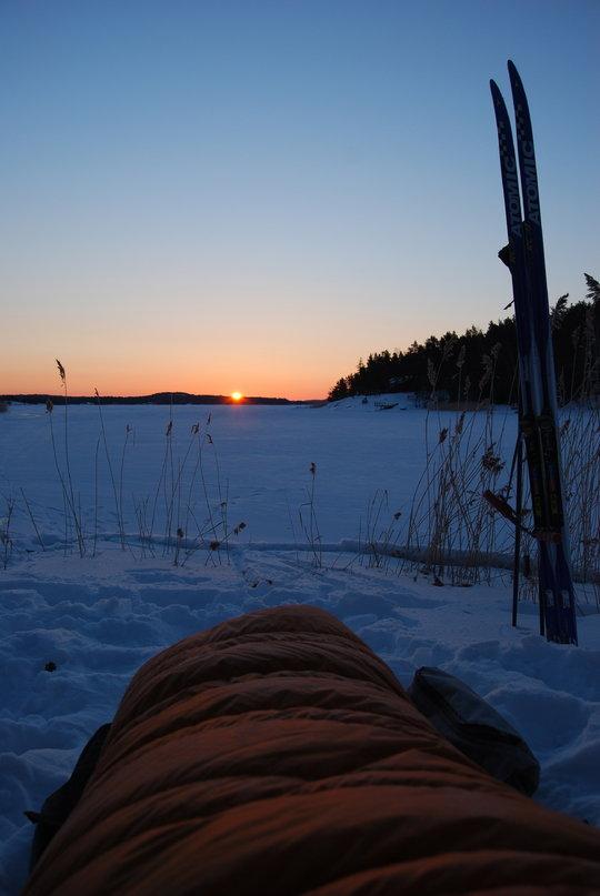 The sun rises over the frozen sea. -20 in the Turku archipelago, SW Finland., 80 kb