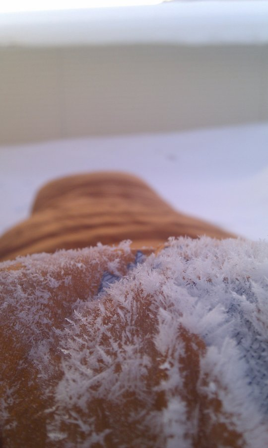 The Drilite Loft SL fabric keeps snow and moisture out; here frost crystals from frozen breath., 52 kb
