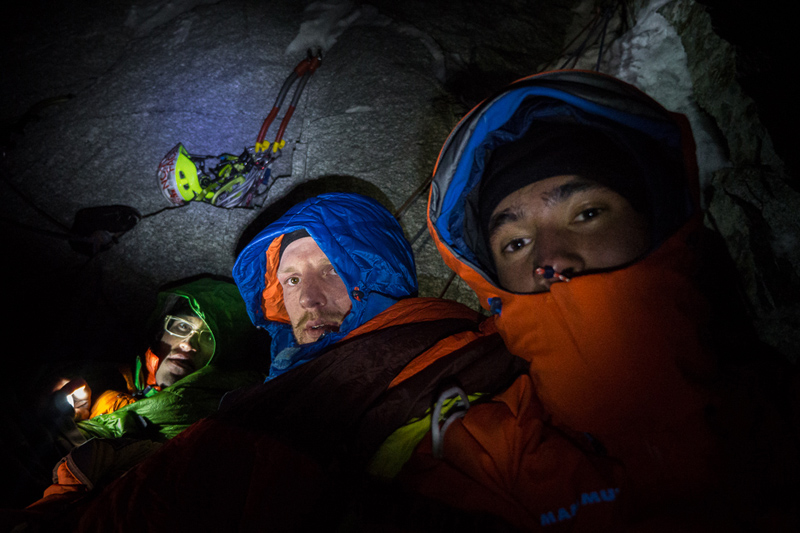 Hansjorg, Peter and David during their freezing bivvy, 186 kb