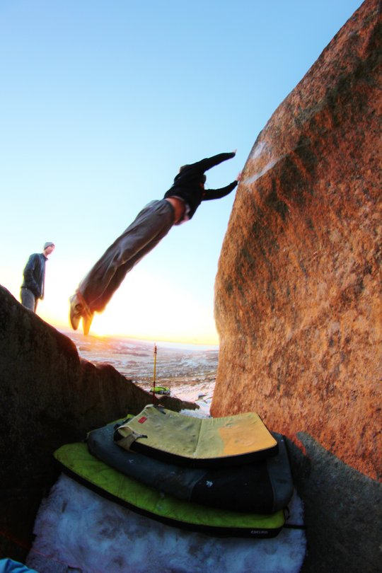 Tom Greenall committing to the lob across Big Air at Stanage.  Still enough snow to make it safe-ish!, 94 kb