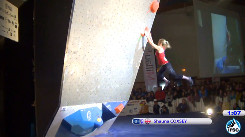 She did it! The moment Shauna latches the elusive holds on problem 1 in the finals. Go Shauna!, 91 kb