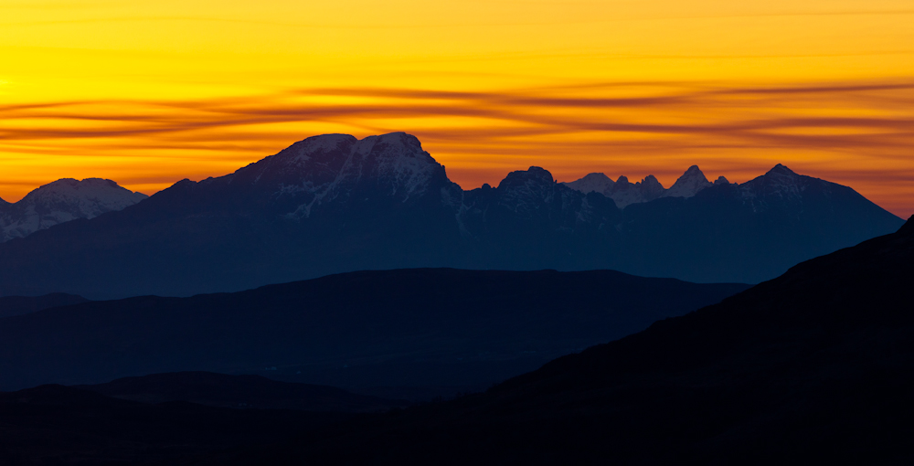 Blaven at sunset, from Loch Hourn, 197 kb