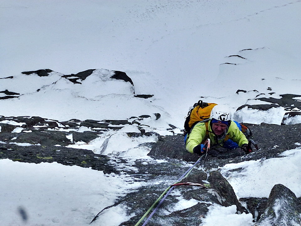 Guy Robertson entering the crux section of pitch 5, 143 kb