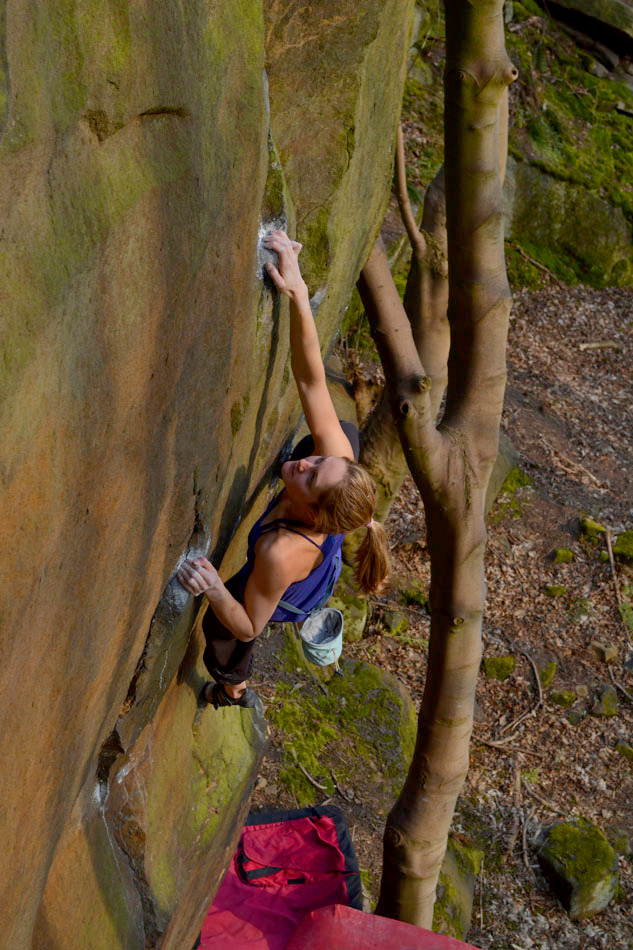 Katy Whittaker on Power of the Darkside (E8? 6b) at Matlock Bank Quarry, 218 kb