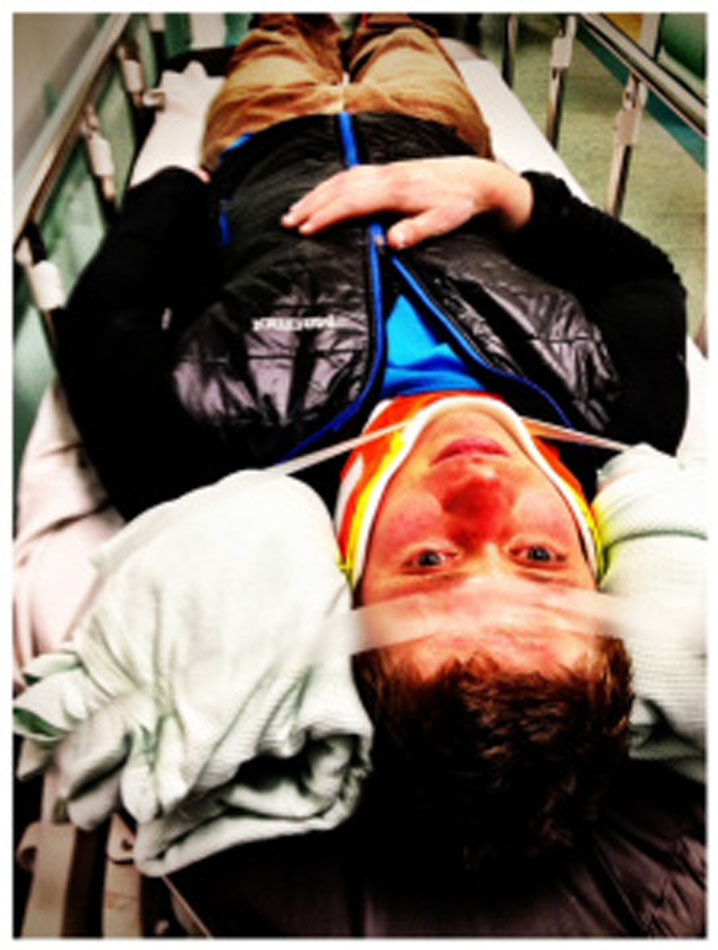 Tom Greenall on a spinal board after a car accident on his way home from climbing Power of the Darkside, 119 kb