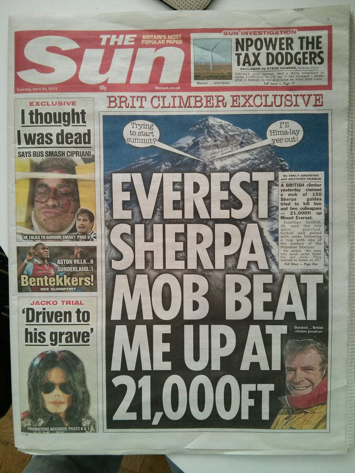 Jon Griffith on the front cover of The Sun, 149 kb