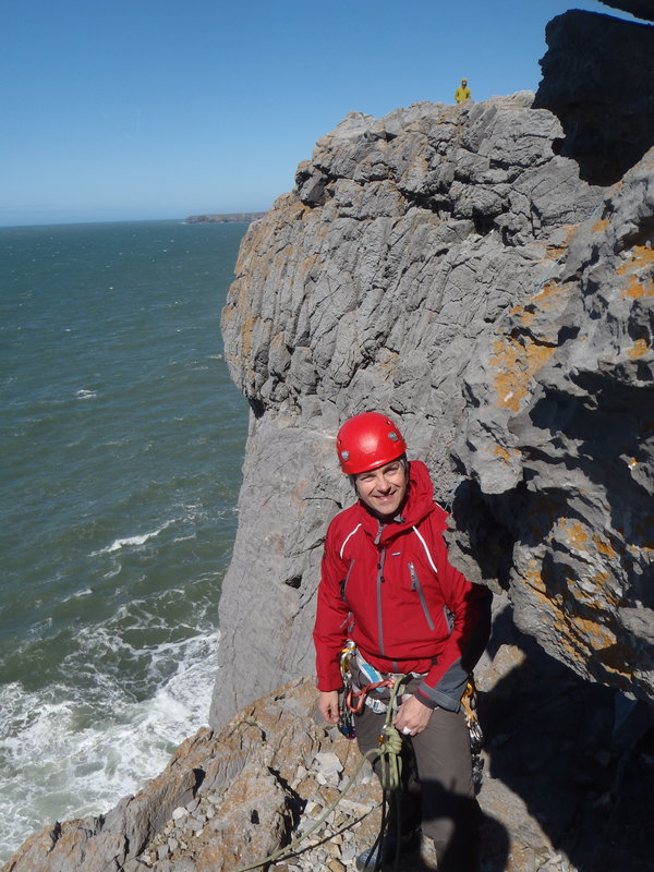 Me climbing on Saddle Head, Pembrokeshire this Bank Holiday past..., 127 kb