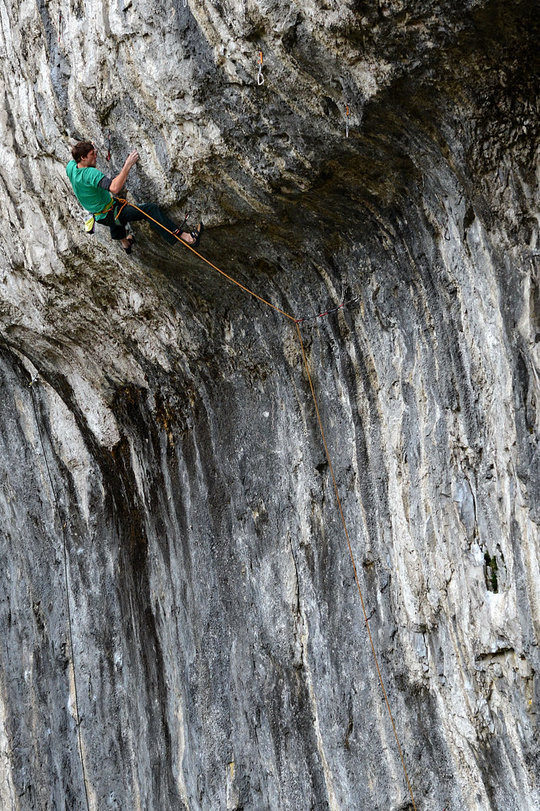 Ryan Pasquil on Power Ranger, 8b+/c, Malham Cove, Yorkshire, 203 kb