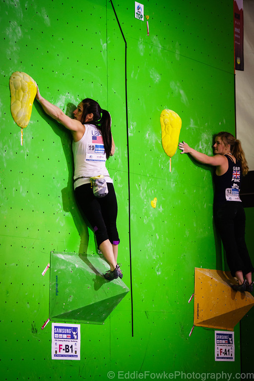 Alex and Shauna on the womens opening qualifier climb., 133 kb