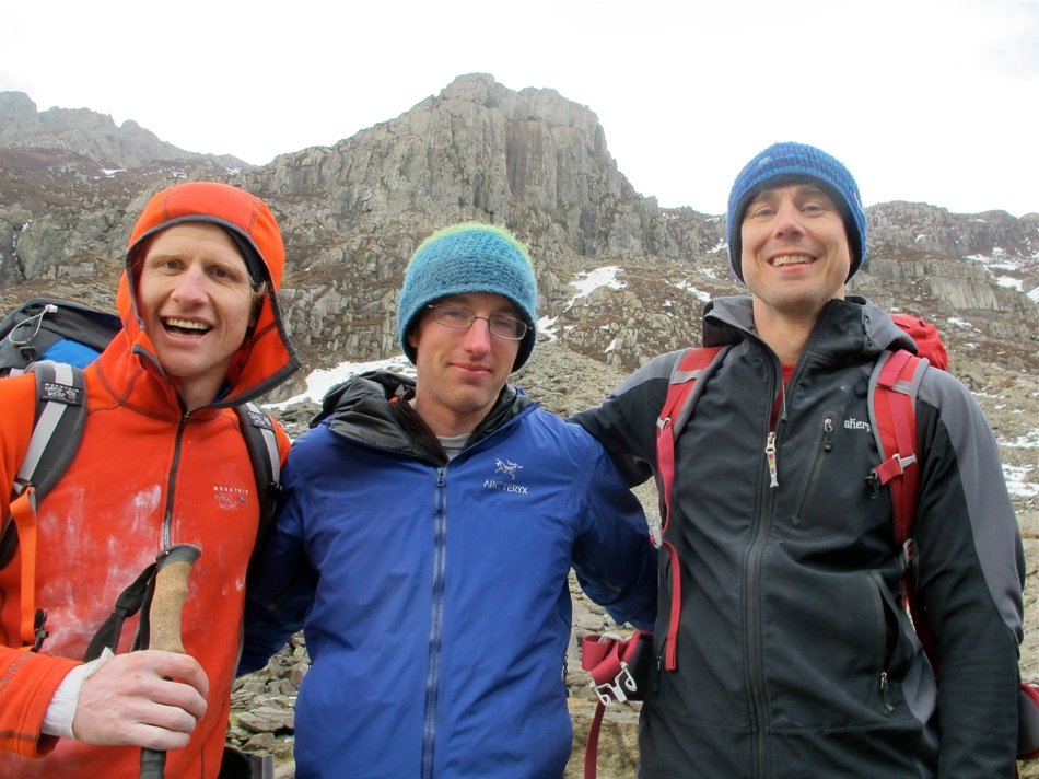 Tim Emmett, James 'King of the Pass' McHaffie and Neil Gresham after Neil's first attempt at the Treble., 132 kb