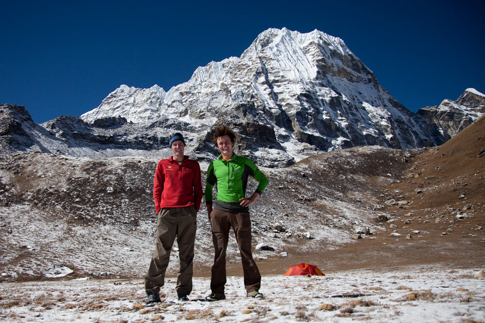 Jack Geldard and Rob Greenwood back at Base-camp a couple of days after the attempt on Peak 41. Spirits were high., 221 kb