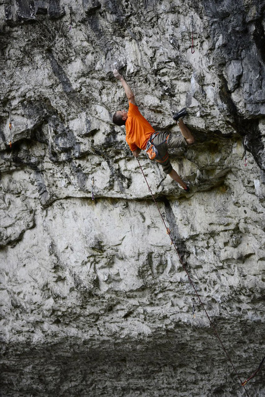 Steve McClure showing the technical nature of climbing at Malham, 160 kb