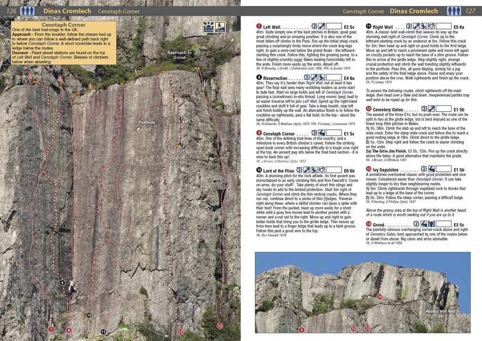 Example page 1 from the North Wales Climbs Rockfax, 224 kb
