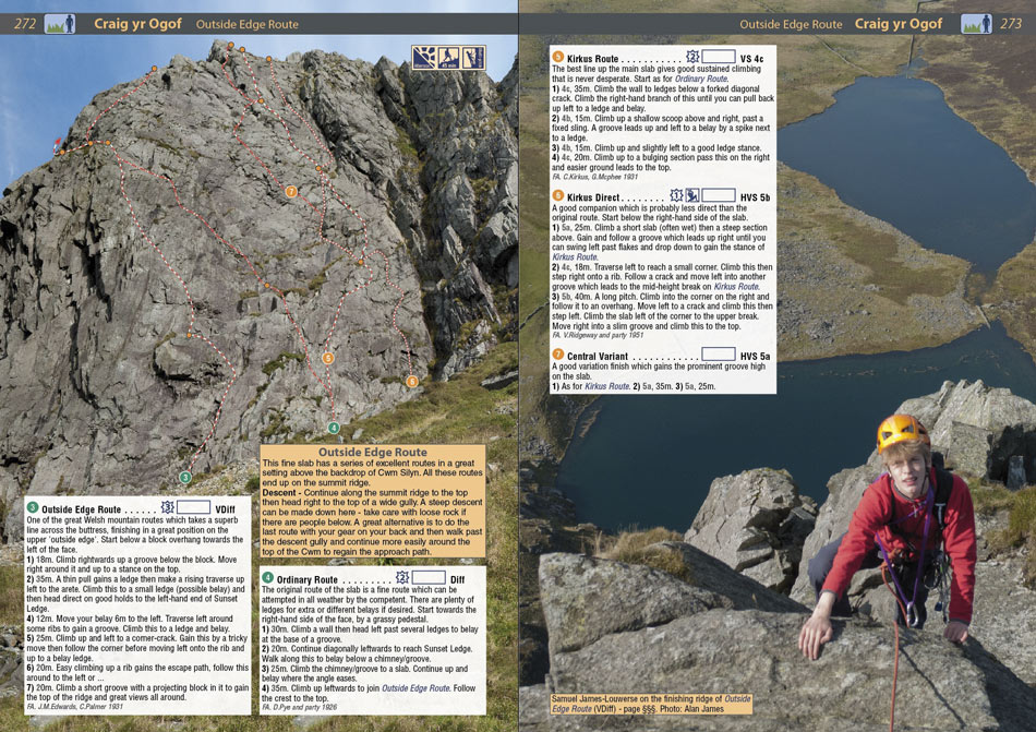 Example page 2 from the North Wales Climbs Rockfax, 211 kb