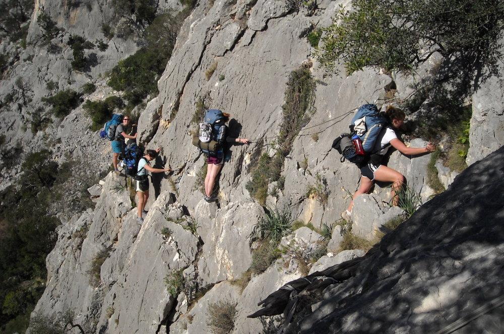 Christi, Sarah, Mae and Ashley exiting Bacu Tenadili, 217 kb