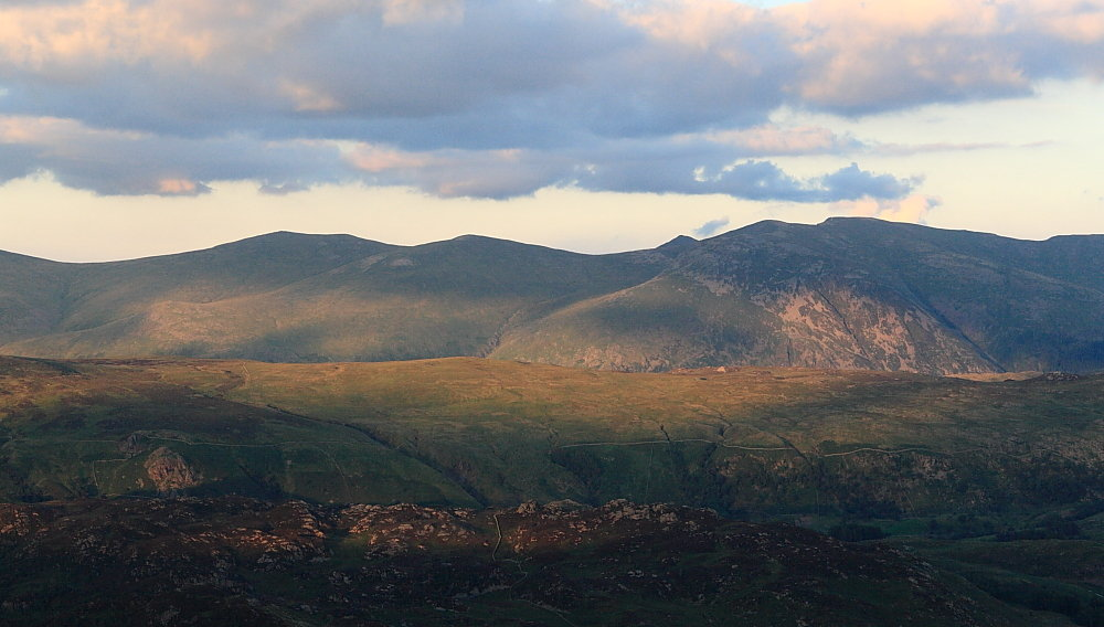 Helvellyn from High Spy - nightfall now a lot closer than the finish, 102 kb