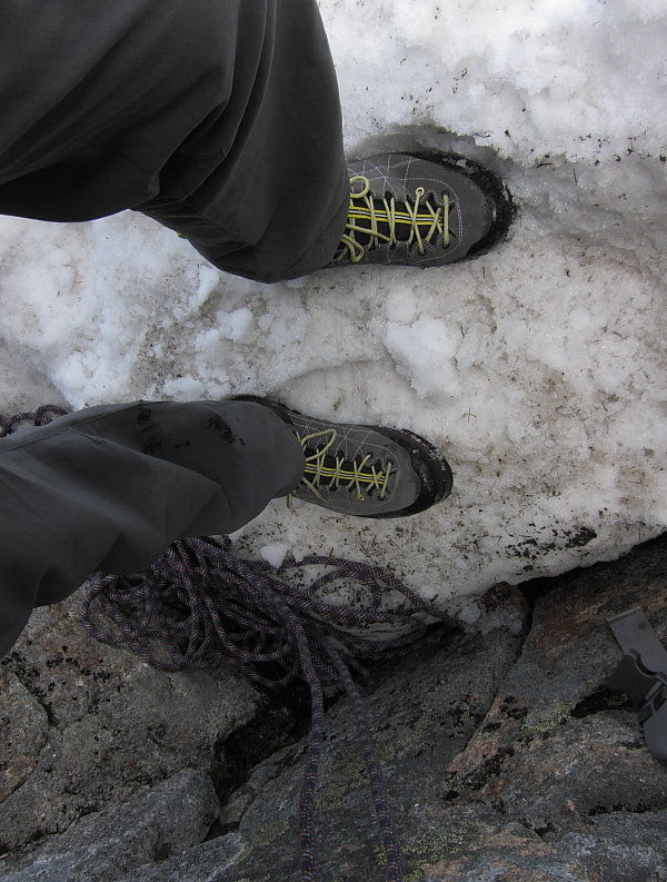 Stiff-ish soles were welcome crossing the snow under Eagle Ridge, 113 kb