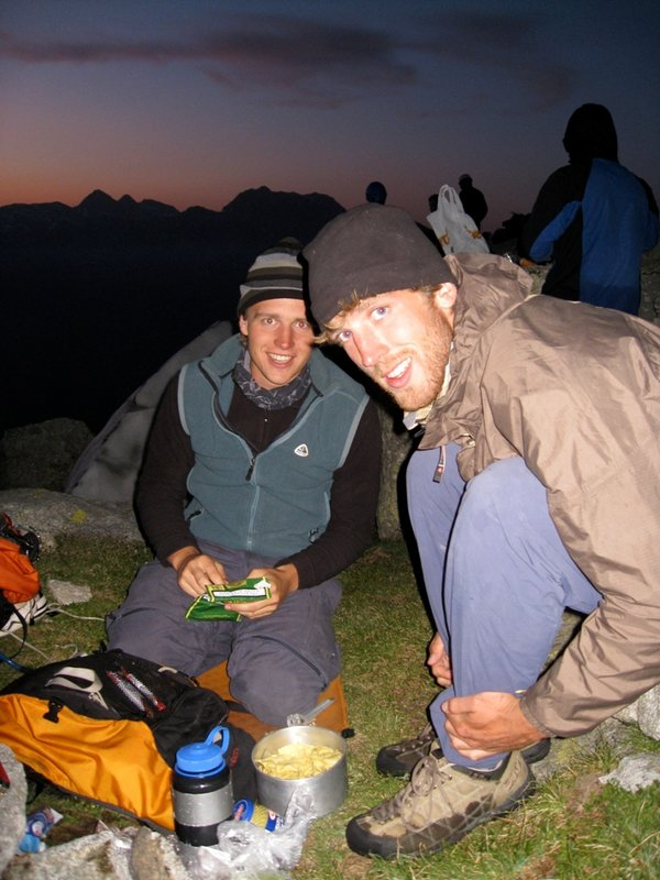 Felix and Tom Brookes the night before climbing the Cassin Route on the Piz Badile, 98 kb