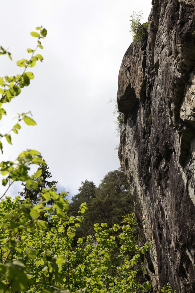 Victoria Jameson nearing the top of the excellent 7a - Guillotine - at Sector Afrique, 183 kb