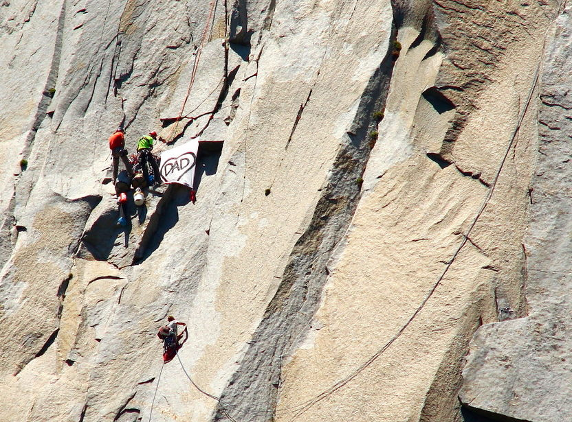 Chris Bevins (lower climber) having just made the infamous 'King Swing' on the Nose., 184 kb