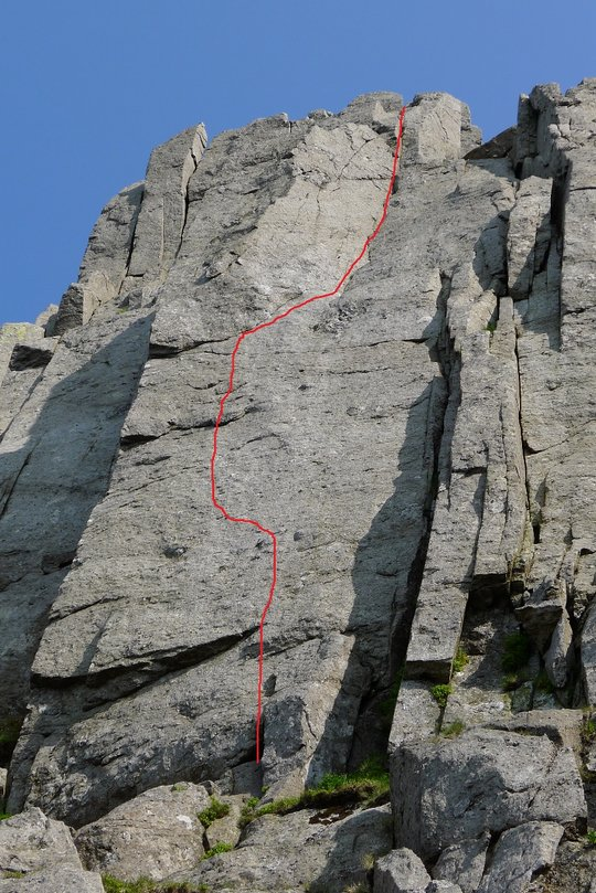 The topo showing the Line of Sentinel, E8 6c. Kaya takes the left arete of the Buttress, 148 kb