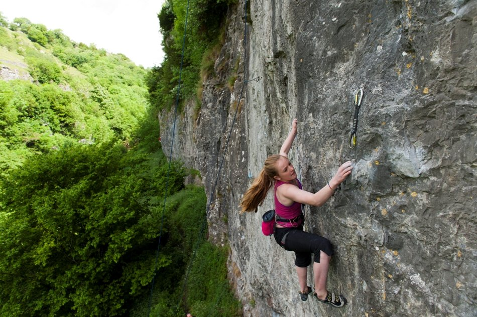 Emily Allen, 14, redpointing her first 8a, Aberration, Cheedale, 175 kb