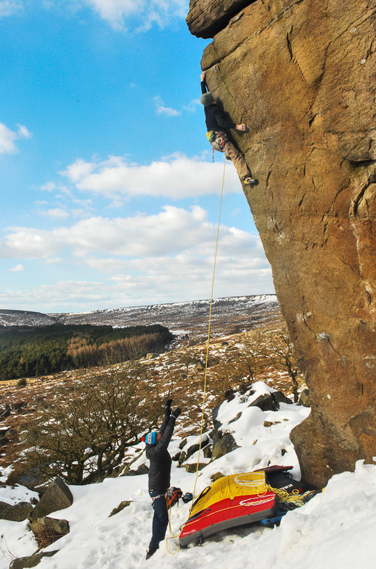 Michele donning a rope for his ascent of Messiah, E6 6c, Burbage, 166 kb