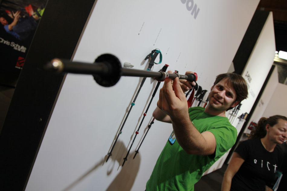 Christian Lehmann of Black Diamond shows off his pole, 80 kb