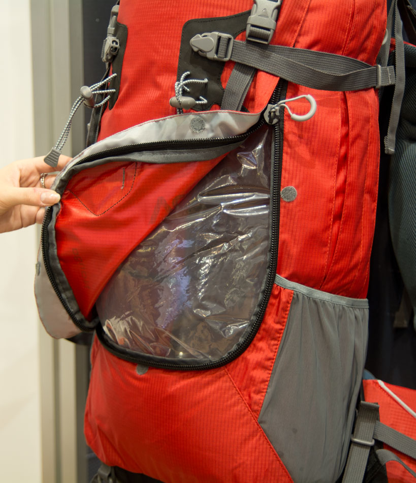 The opening front panel on the Nanga pack from Vango, 175 kb