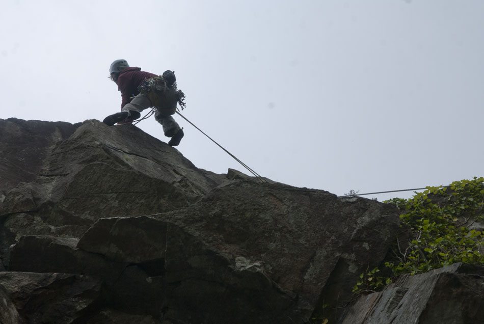 Mark Reeves wearing the Edelrid Blizzard rock shoes at Tremadog, North Wales, 80 kb