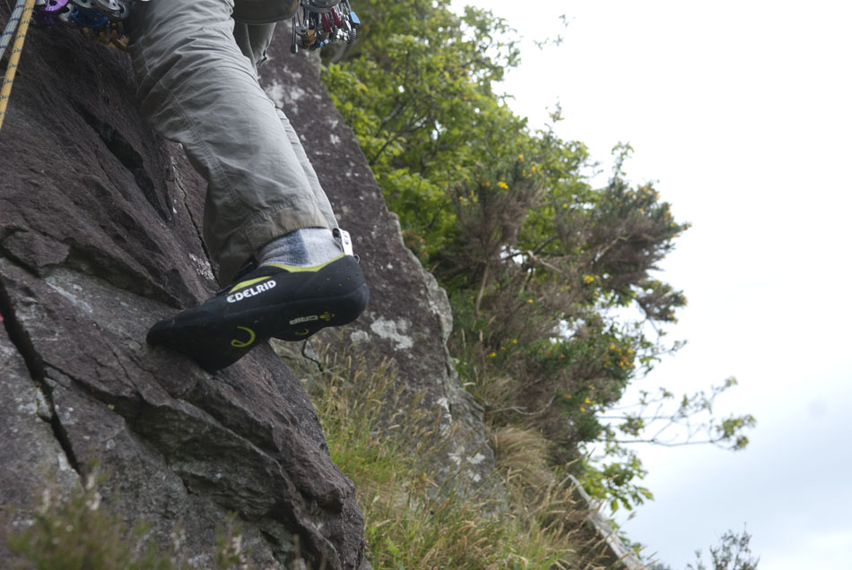 Edelrid Blizzard worn with socks at Tremadog, North Wales, 135 kb