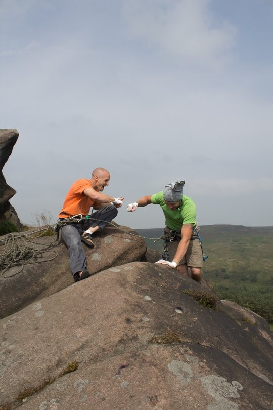 Turner and Bridgwood 'pound fists' upon finishing the Brown - Whillans Staffs 'Day Out', 63 kb